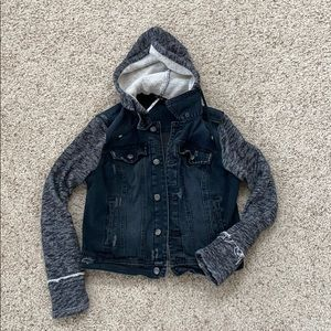 Free People Mixed Media Denim Jacket | Size Medium